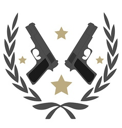 2 pistols and stars in laurel wreath emblem vector image