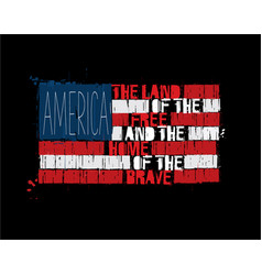american text flag - america land of the free vector image
