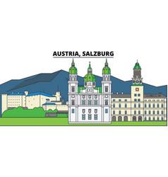 Austria salzburg city skyline architecture vector