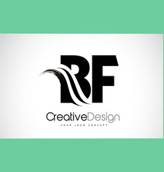 Bf b f creative brush black letters design with vector
