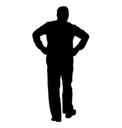 Black silhouette man with hands on his hips vector image