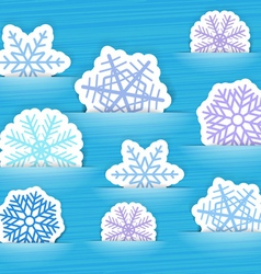 Blue christmas flakes in a pockets vector image vector image
