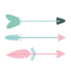Bohemian arrows with feathers icons vector