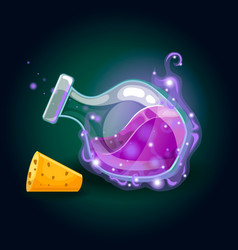 Bottle with magic smog and elixir vector