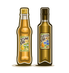 Bottles of sesame and flaxseed oil vector