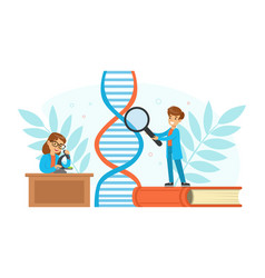 boy and girl scientists characters experimenting vector image