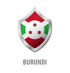 burundi flag on metal shiny shield vector image