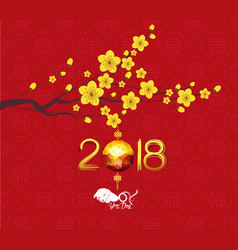 Calendar 2018 chinese new year cherry blossom vector