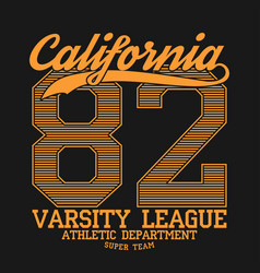 California varsity typography for design t-shirt vector