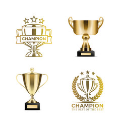 Champion awards in form of cups and certificates vector