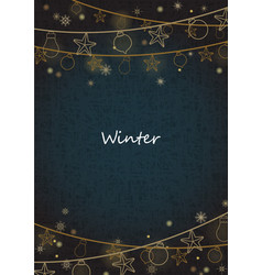 christmas decoration with snowflake on navy blue vector image