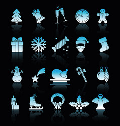 christmas icons with reflections vector image