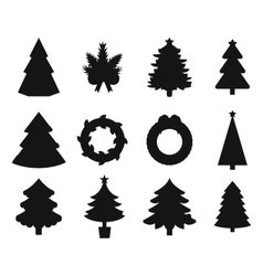 Christmas tree black icons set vector