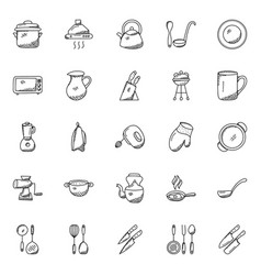 collection of kitchen utensils doodle icons vector image