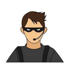 Color image cartoon half body hacker with vector