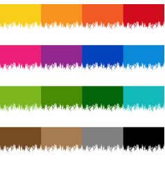 colorful paint border set with isolated white vector image