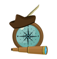 Compass with hat and monocular navigation tools vector