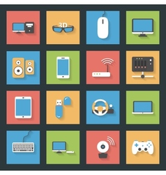 Computers peripherals and network devices flat vector image
