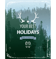 Coniferous forest with text vector