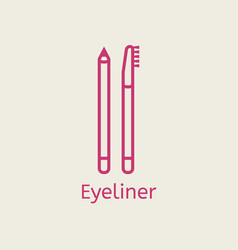 Cosmetic eyeliner pensil thin line icon vector
