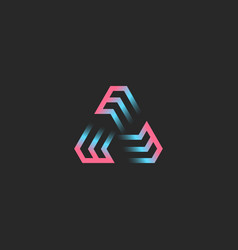 Creative triangular logo formed three letters vector