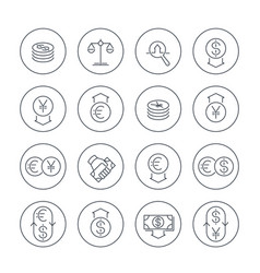 currency line icons set over white money transfer vector image