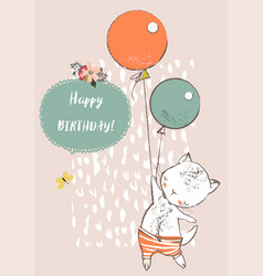 Cute cat with balloons vector
