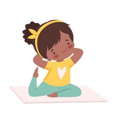 Cute girl doing sport exercise adorable kid vector