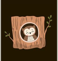 Cute little cartoon owl inside a hollow woodland vector