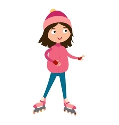 Cute young girl in roller pink skates vector