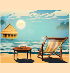 Deckchair at sunset retro poster vector