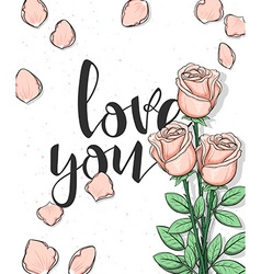 Design postcard with roses and calligraphy vector