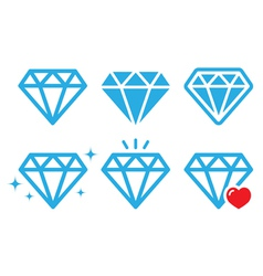 Diamond luxury icons set vector image