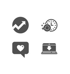 dishwasher timer love message and audit icons vector image