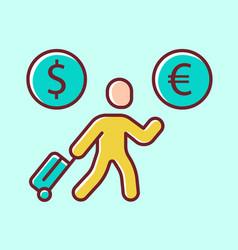 Economic migrant yellow color icon person vector