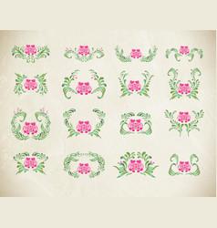 Elegant pink ornament set vector