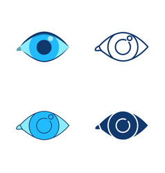 eye icon set in flat and line style vector image