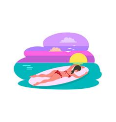 female lying on surfboard summer activity vector image