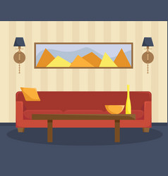 flat of living room with a red sofa vector image