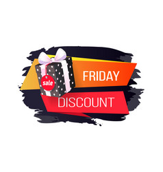 friday discount price tag dotted gift box isolated vector image