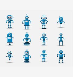 Funny vintage robot set icon in flat vector
