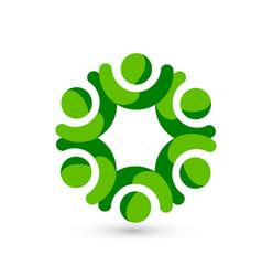 green people teamwork meeting icon vector image