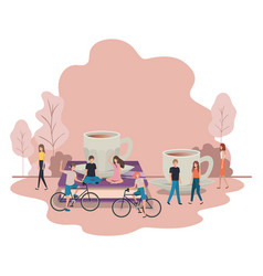 Group people with cup coffee and book vector