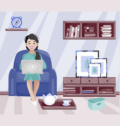 home office woman working at home freelancer vector image