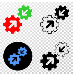Integration gears eps icon with contour vector