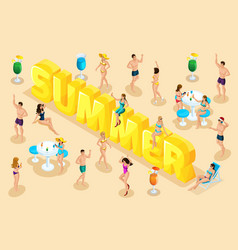 isometric letters summer font people characters vector image