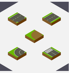 Isometric way set of strip turning down and vector