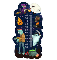 Kids height chart with cartoon halloween monsters vector