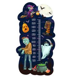 Kids height chart with cartoon halloween vector