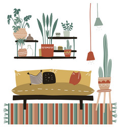 Lagom furniture in cozy home interior with many vector